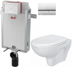 AKCE/SET/ALCAPLAST - SET Renovmodul - předstěnový instalační systém + tlačítko M1721 + WC CERSANIT PRESIDENT + SEDÁTKO (AM115/1000 M1721 PR1)