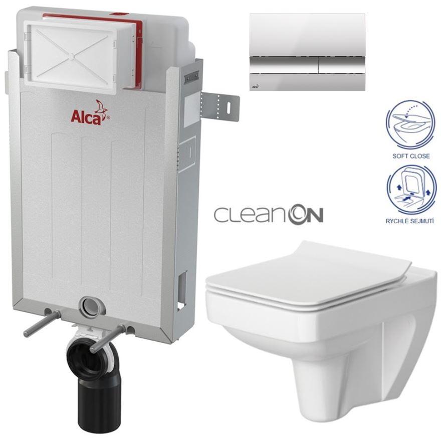 AKCE/SET/ALCAPLAST - Renovmodul - předstěnový instalační systém + tlačítko M1721 + WC CERSANIT CLEANON SPLENDOUR + SEDÁTKO (AM115/1000 M1721 SP1)