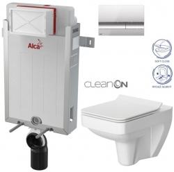 AKCE/SET/ALCAPLAST - SET Renovmodul - předstěnový instalační systém + tlačítko M1721 + WC CERSANIT CLEANON SPLENDOUR + SEDÁTKO (AM115/1000 M1721 SP1)