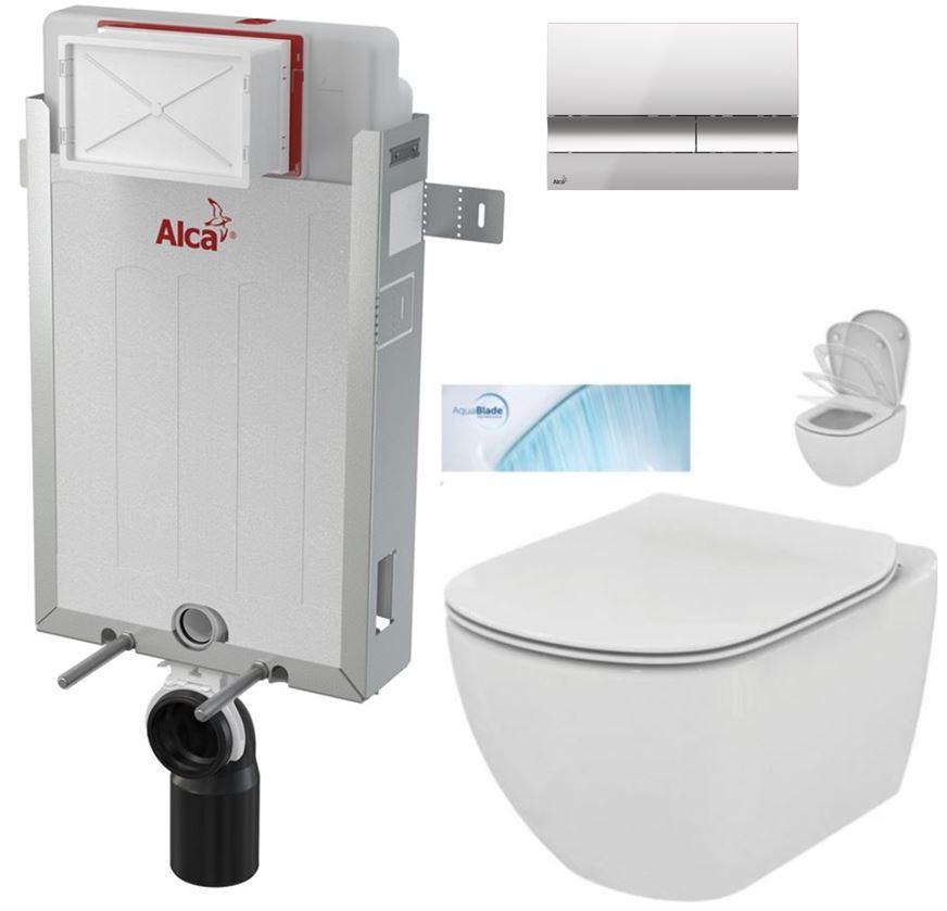 AKCE/SET/ALCAPLAST - Renovmodul - předstěnový instalační systém + tlačítko M1721 + WC TESI se sedátkem SoftClose, AquaBlade (AM115/1000 M1721 TE1)