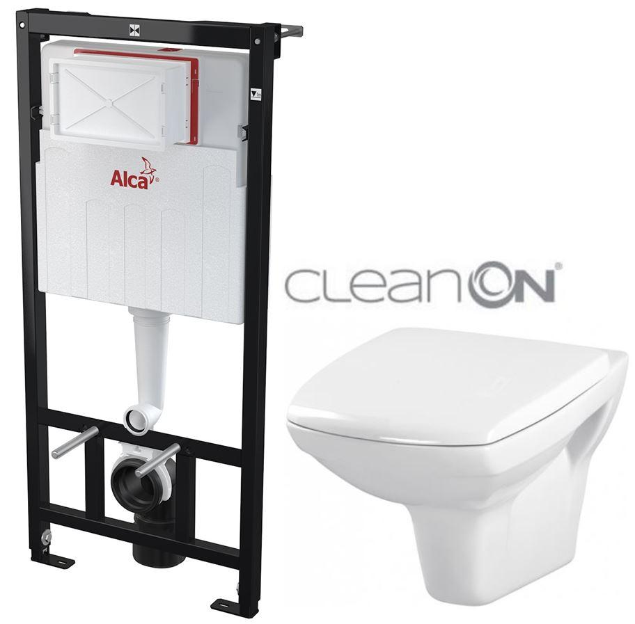 AKCE/SET/ALCAPLAST - Sádromodul - předstěnový instalační systém určený pro suchou instalaci 1,2 m + WC CERSANIT CLEANON CARINA + SEDÁTKO (AM101/1120 X CA1)