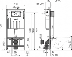 AKCE/SET/ALCAPLAST - SET Sádromodul - předstěnový instalační systém určený pro suchou instalaci 1,2 m + WC CERSANIT CLEANON CARINA + SEDÁTKO (AM101/1120 X CA1), fotografie 4/6
