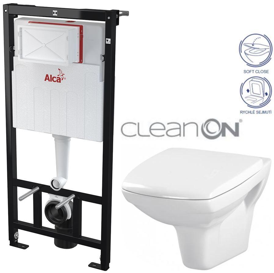AKCE/SET/ALCAPLAST - Sádromodul - předstěnový instalační systém určený pro suchou instalaci 1,2 m + WC CERSANIT CLEANON CARINA + SEDÁTKO (AM101/1120 X CA2)