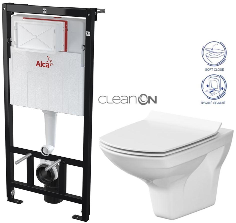 AKCE/SET/ALCAPLAST - Sádromodul - předstěnový instalační systém určený pro suchou instalaci 1,2 m + WC CERSANIT CLEANON CARINA + SEDÁTKO (AM101/1120 X CA3)