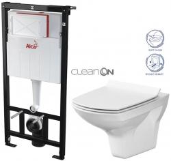 AKCE/SET/ALCAPLAST - SET Sádromodul - předstěnový instalační systém určený pro suchou instalaci 1,2 m + WC CERSANIT CLEANON CARINA + SEDÁTKO (AM101/1120 X CA3)