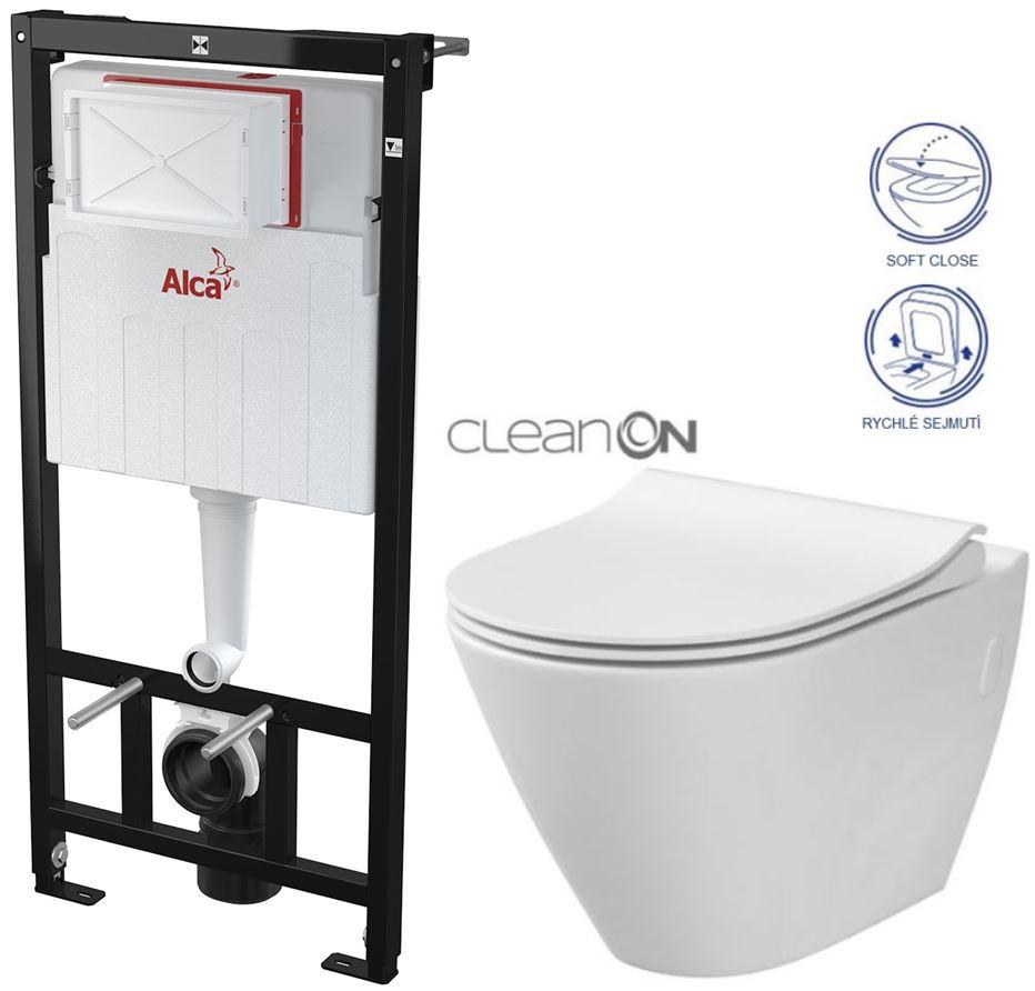 AKCE/SET/ALCAPLAST - Sádromodul - předstěnový instalační systém určený pro suchou instalaci 1,2 m + WC CERSANIT CLEANON CITY + SEDÁTKO (AM101/1120 X CI1)