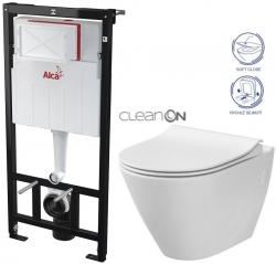 AKCE/SET/ALCAPLAST - SET Sádromodul - předstěnový instalační systém určený pro suchou instalaci 1,2 m + WC CERSANIT CLEANON CITY + SEDÁTKO (AM101/1120 X CI1)