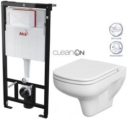 AKCE/SET/ALCAPLAST - SET Sádromodul - předstěnový instalační systém určený pro suchou instalaci 1,2 m + WC CERSANIT CLEANON COLOUR + SEDÁTKO (AM101/1120 X CN1)