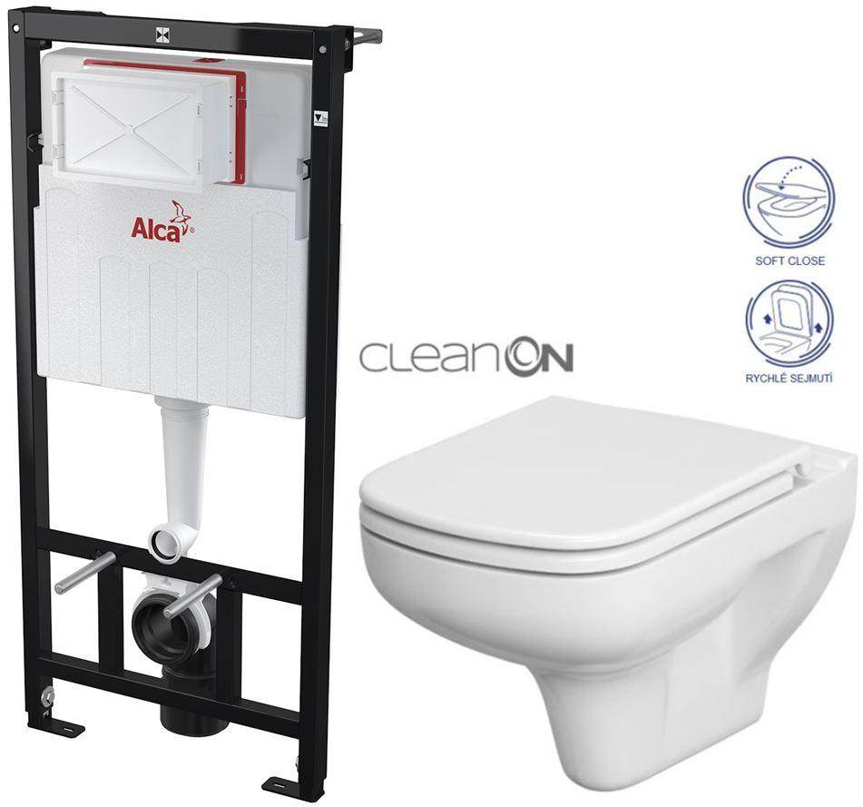 AKCE/SET/ALCAPLAST - Sádromodul - předstěnový instalační systém určený pro suchou instalaci 1,2 m + WC CERSANIT CLEANON COLOUR + SEDÁTKO (AM101/1120 X CN1)