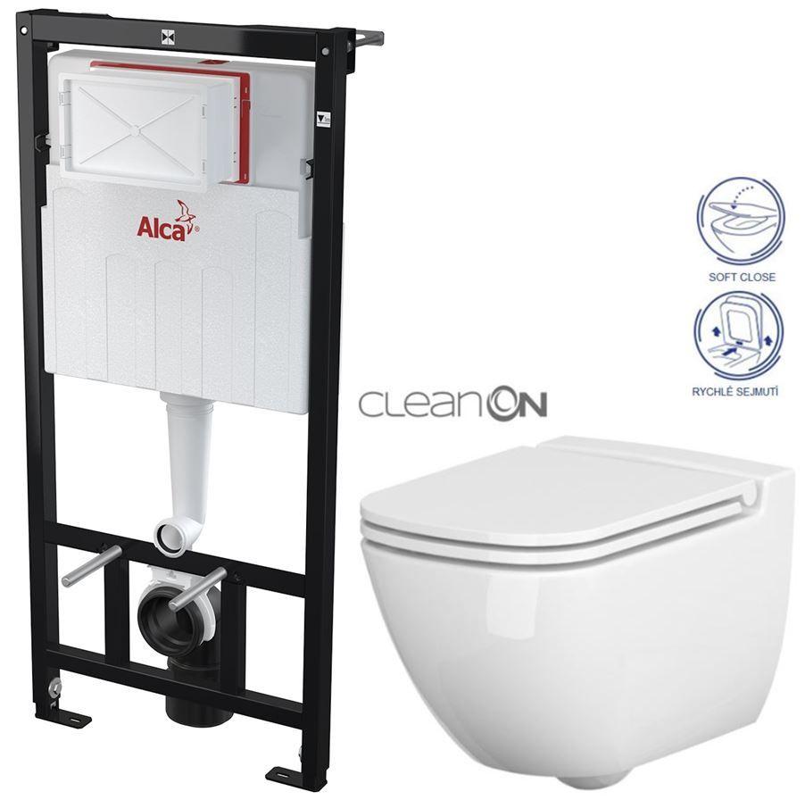 ALCAPLAST Sádromodul předstěnový instalační systém bez tlačítka + WC CERSANIT CLEANON CASPIA + SEDÁTKO AM101/1120 X CP1