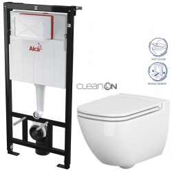 AKCE/SET/ALCAPLAST - SET Sádromodul - předstěnový instalační systém určený pro suchou instalaci 1,2 m + WC CERSANIT CLEANON CASPIA + SEDÁTKO (AM101/1120 X CP1)