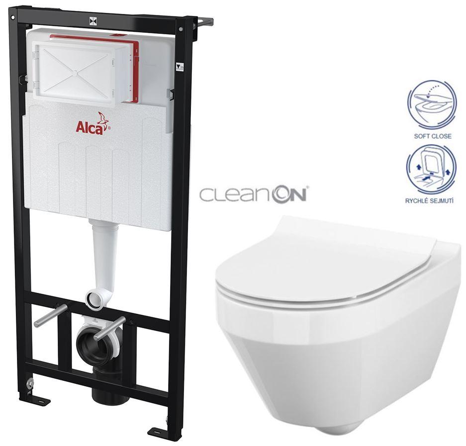 ALCAPLAST Sádromodul předstěnový instalační systém bez tlačítka + WC CERSANIT CLEANON CREA OVÁL + SEDÁTKO AM101/1120 X CR1