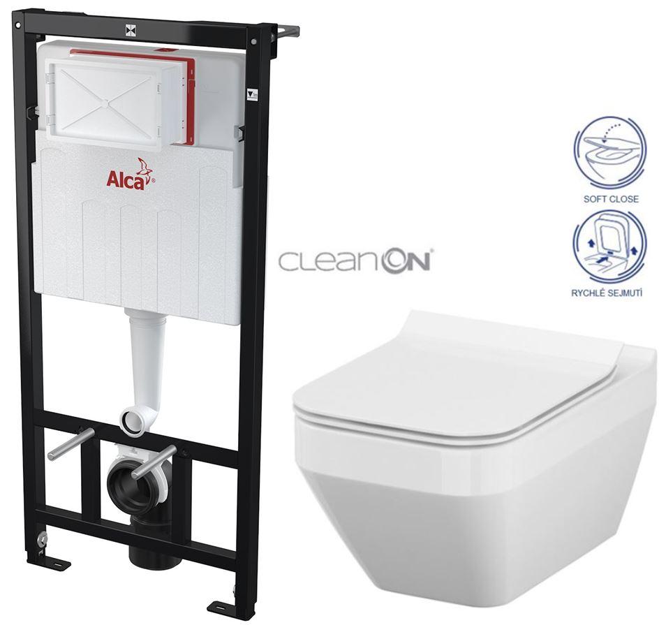 AKCE/SET/ALCAPLAST - Sádromodul - předstěnový instalační systém určený pro suchou instalaci 1,2 m + WC CERSANIT CLEANON CREA ČTVEREC + SEDÁTKO (AM101/1120 X CR2)