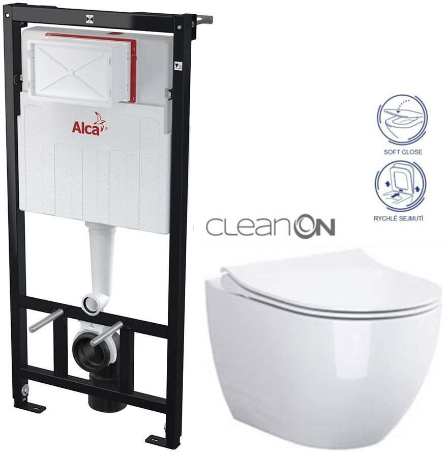 ALCAPLAST Sádromodul předstěnový instalační systém bez tlačítka + WC CERSANIT ZEN CLEANON + SEDÁTKO AM101/1120 X HA1