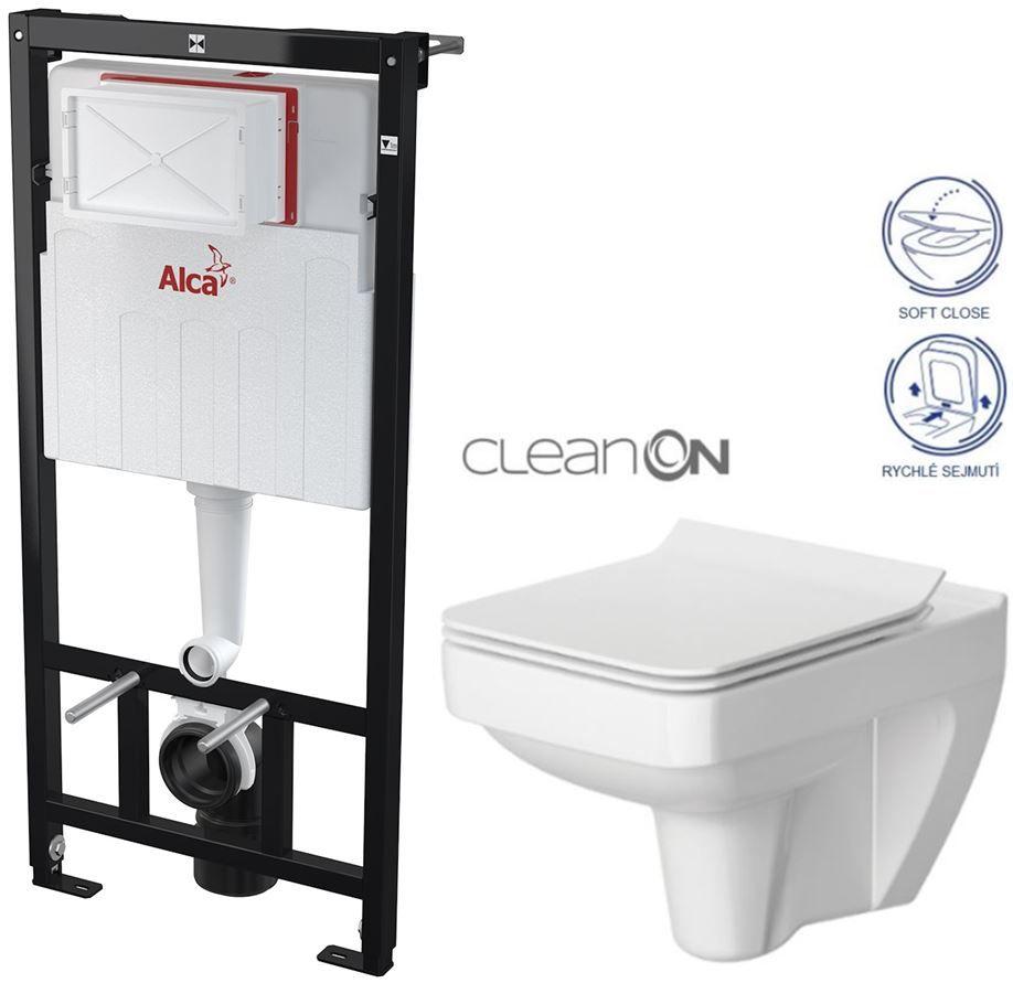 ALCAPLAST Sádromodul předstěnový instalační systém bez tlačítka + WC CERSANIT CLEANON SPLENDOUR + SEDÁTKO AM101/1120 X SP1