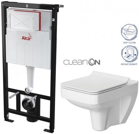AKCE/SET/ALCAPLAST - SET Sádromodul - předstěnový instalační systém určený pro suchou instalaci 1,2 m + WC CERSANIT CLEANON SPLENDOUR + SEDÁTKO (AM101/1120 X SP1)
