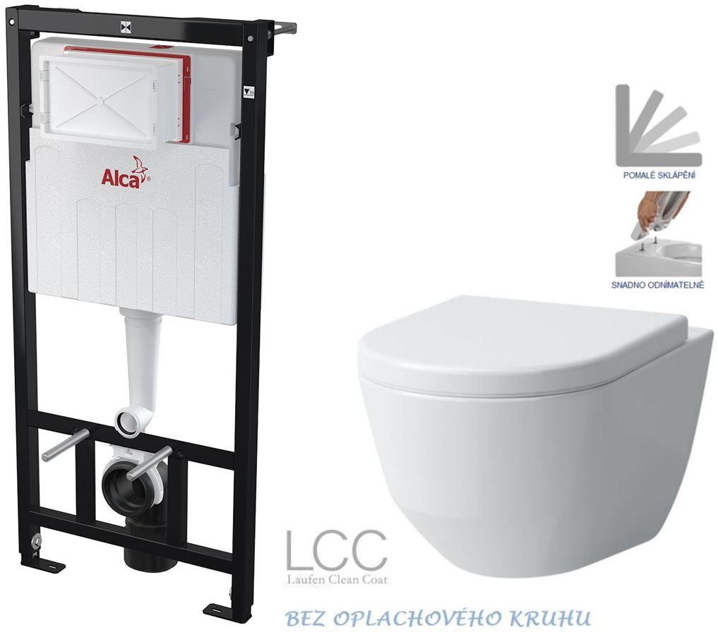 AKCE/SET/ALCAPLAST - Sádromodul - předstěnový instalační systém určený pro suchou instalaci 1,2 m + WC LAUFEN PRO LCC RIMLESS + SEDÁTKO (AM101/1120 X LP2)