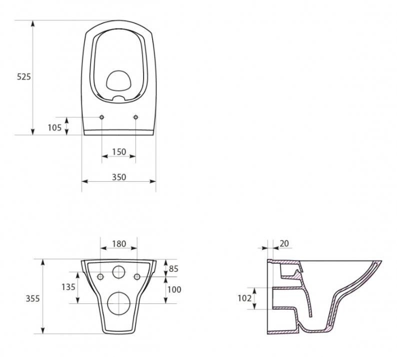 AKCE/SET/ALCAPLAST - Sádromodul - předstěnový instalační systém + tlačítko M1710 + WC CERSANIT CLEANON CARINA + SEDÁTKO (AM101/1120 M1710 CA3), fotografie 10/9