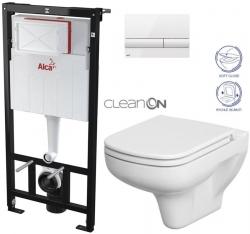 SET Sádromodul - předstěnový instalační systém + tlačítko M1710 + WC CERSANIT CLEANON COLOUR + SEDÁTKO (AM101/1120 M1710 CN1) - AKCE/SET/ALCAPLAST