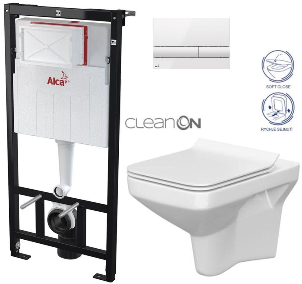 AKCE/SET/ALCAPLAST - Sádromodul - předstěnový instalační systém + tlačítko M1710 + WC CERSANIT CLEANON COMO + SEDÁTKO (AM101/1120 M1710 CO1)