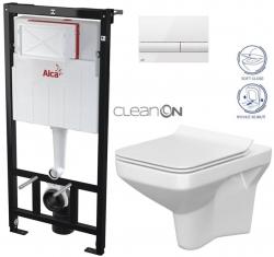 ALCAPLAST  Sádromodul - předstěnový instalační systém s bílým tlačítkem M1710 + WC CERSANIT CLEANON COMO + SEDÁTKO (AM101/1120 M1710 CO1)