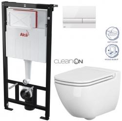 AKCE/SET/ALCAPLAST - Sádromodul - předstěnový instalační systém + tlačítko M1710 + WC CERSANIT CLEANON CASPIA + SEDÁTKO (AM101/1120 M1710 CP1)