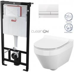 ALCAPLAST  Sádromodul - předstěnový instalační systém s bílým tlačítkem M1710 + WC CERSANIT CLEANON CREA OVÁL + SEDÁTKO (AM101/1120 M1710 CR1)