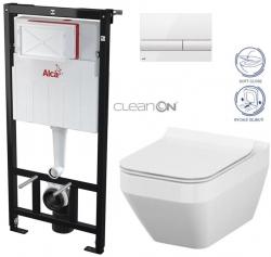 AKCE/SET/ALCAPLAST - Sádromodul - předstěnový instalační systém + tlačítko M1710 + WC CERSANIT CLEANON CREA ČTVEREC + SEDÁTKO (AM101/1120 M1710 CR2)