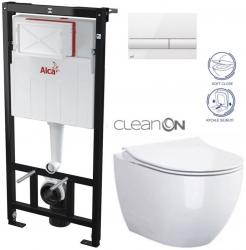 ALCAPLAST  Sádromodul - předstěnový instalační systém s bílým tlačítkem M1710 + WC CERSANIT ZEN CLEANON + SEDÁTKO (AM101/1120 M1710 HA1)