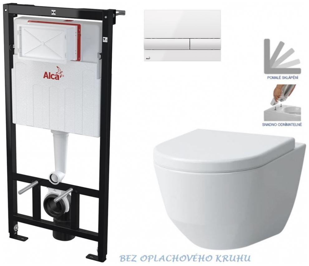 AKCE/SET/ALCAPLAST - Sádromodul - předstěnový instalační systém + tlačítko M1710 + WC LAUFEN PRO RIMLESS + SEDÁTKO (AM101/1120 M1710 LP1)