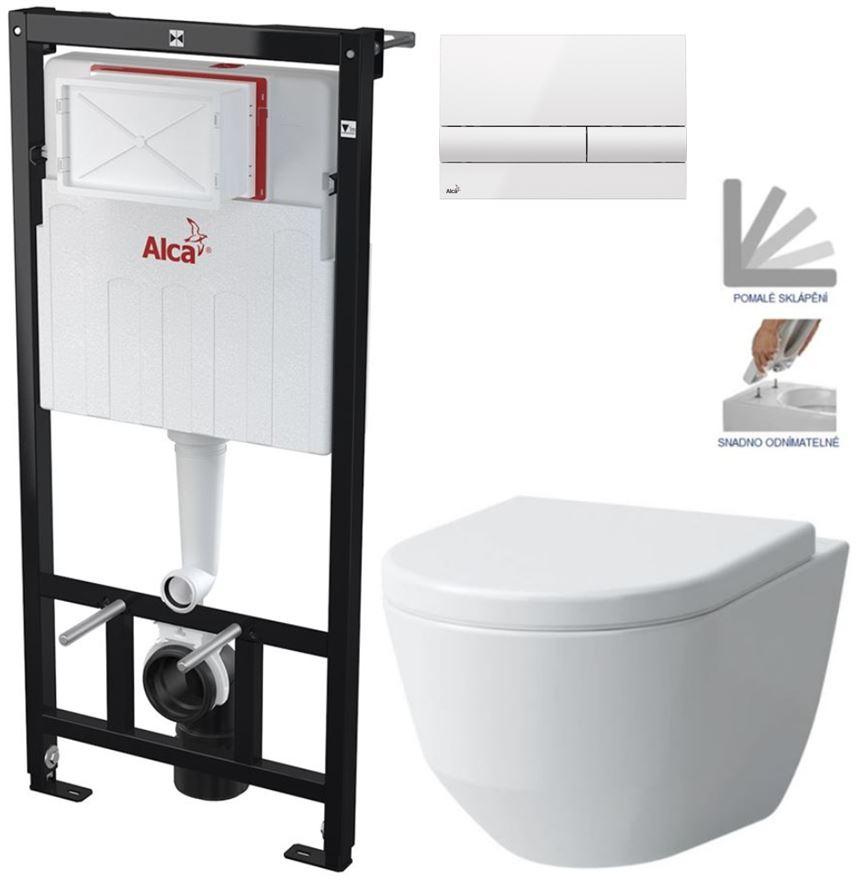 AKCE/SET/ALCAPLAST - Sádromodul - předstěnový instalační systém + tlačítko M1710 + WC LAUFEN PRO + SEDÁTKO (AM101/1120 M1710 LP3)
