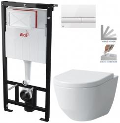ALCAPLAST  Sádromodul - předstěnový instalační systém s bílým tlačítkem M1710 + WC LAUFEN PRO + SEDÁTKO (AM101/1120 M1710 LP3)