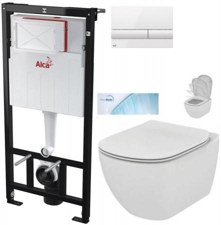 AKCE/SET/ALCAPLAST - Sádromodul - předstěnový instalační systém + tlačítko M1710 + WC TESI se sedátkem SoftClose, AquaBlade (AM101/1120 M1710 TE1)