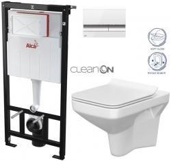 ALCAPLAST  Sádromodul - předstěnový instalační systém s bílým/ chrom tlačítkem M1720-1 + WC CERSANIT CLEANON COMO + SEDÁTKO (AM101/1120 M1720-1 CO1)