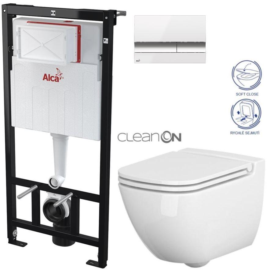 AKCE/SET/ALCAPLAST - Sádromodul - předstěnový instalační systém + tlačítko M1720-1 + WC CERSANIT CLEANON CASPIA + SEDÁTKO (AM101/1120 M1720-1 CP1)