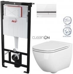 AKCE/SET/ALCAPLAST - SET Sádromodul - předstěnový instalační systém + tlačítko M1720-1 + WC CERSANIT CLEANON CASPIA + SEDÁTKO (AM101/1120 M1720-1 CP1)