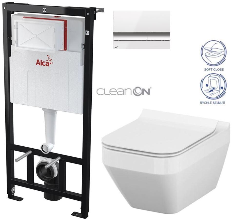 Sádromodul - předstěnový instalační systém + tlačítko M1720-1 + WC CERSANIT CLEANON CREA ČTVEREC +SEDÁTKO (AM101/1120 M1720-1 CR2) - AKCE/SET/ALCAPLAST