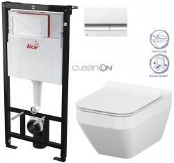 AKCE/SET/ALCAPLAST - SET Sádromodul - předstěnový instalační systém + tlačítko M1720-1 + WC CERSANIT CLEANON CREA ČTVEREC +SEDÁTKO (AM101/1120 M1720-1 CR2)