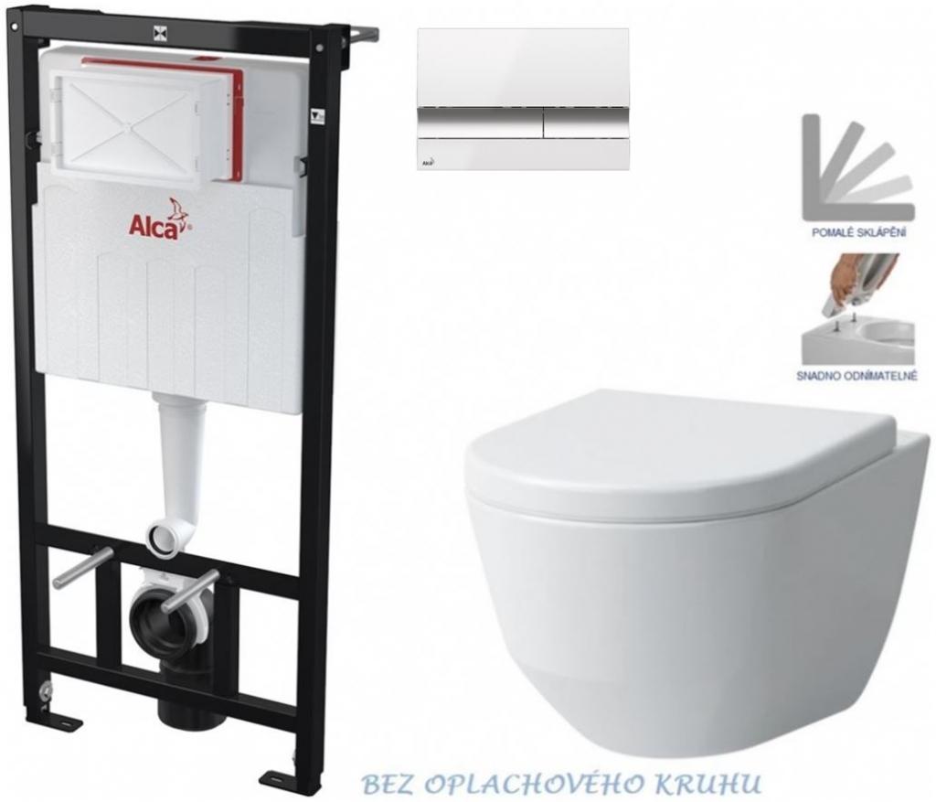 AKCE/SET/ALCAPLAST - Sádromodul - předstěnový instalační systém + tlačítko M1720-1 +WC LAUFEN PRO RIMLESS + SEDÁTKO (AM101/1120 M1720-1 LP1)