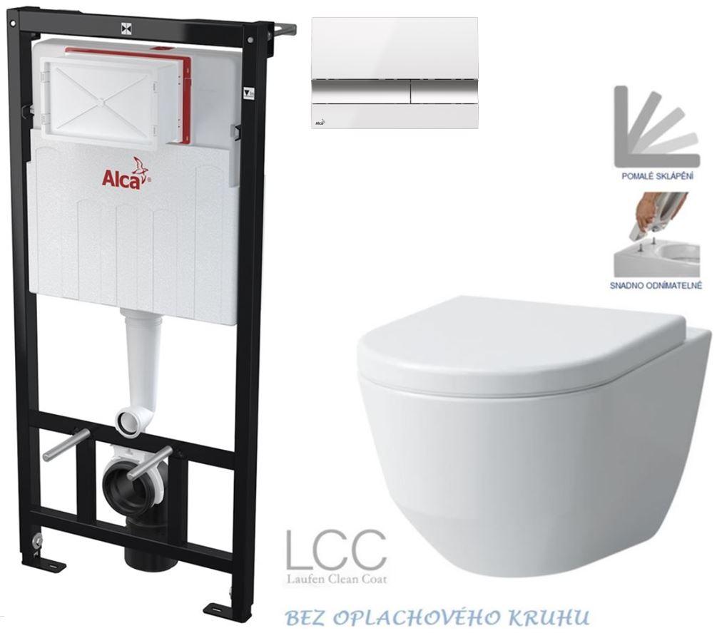 AKCE/SET/ALCAPLAST - Sádromodul - předstěnový instalační systém + tlačítko M1720-1 + WC LAUFEN PRO LCC RIMLESS + SEDÁTKO (AM101/1120 M1720-1 LP2)