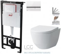 Sádromodul - předstěnový instalační systém + tlačítko M1720-1 + WC LAUFEN PRO LCC RIMLESS + SEDÁTKO (AM101/1120 M1720-1 LP2) - AKCE/SET/ALCAPLAST
