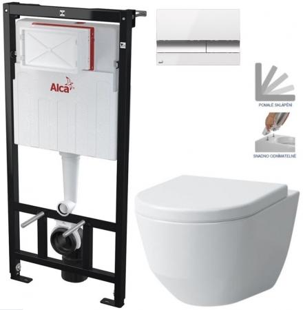 AKCE/SET/ALCAPLAST - Sádromodul - předstěnový instalační systém + tlačítko M1720-1 + WC LAUFEN PRO + SEDÁTKO (AM101/1120 M1720-1 LP3)