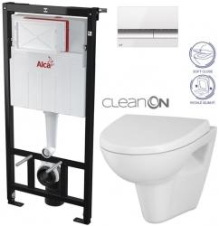 SET Sádromodul - předstěnový instalační systém + tlačítko M1720-1 + WC CERSANIT CLEANON PARVA + SEDÁTKO (AM101/1120 M1720-1 PA1) - AKCE/SET/ALCAPLAST