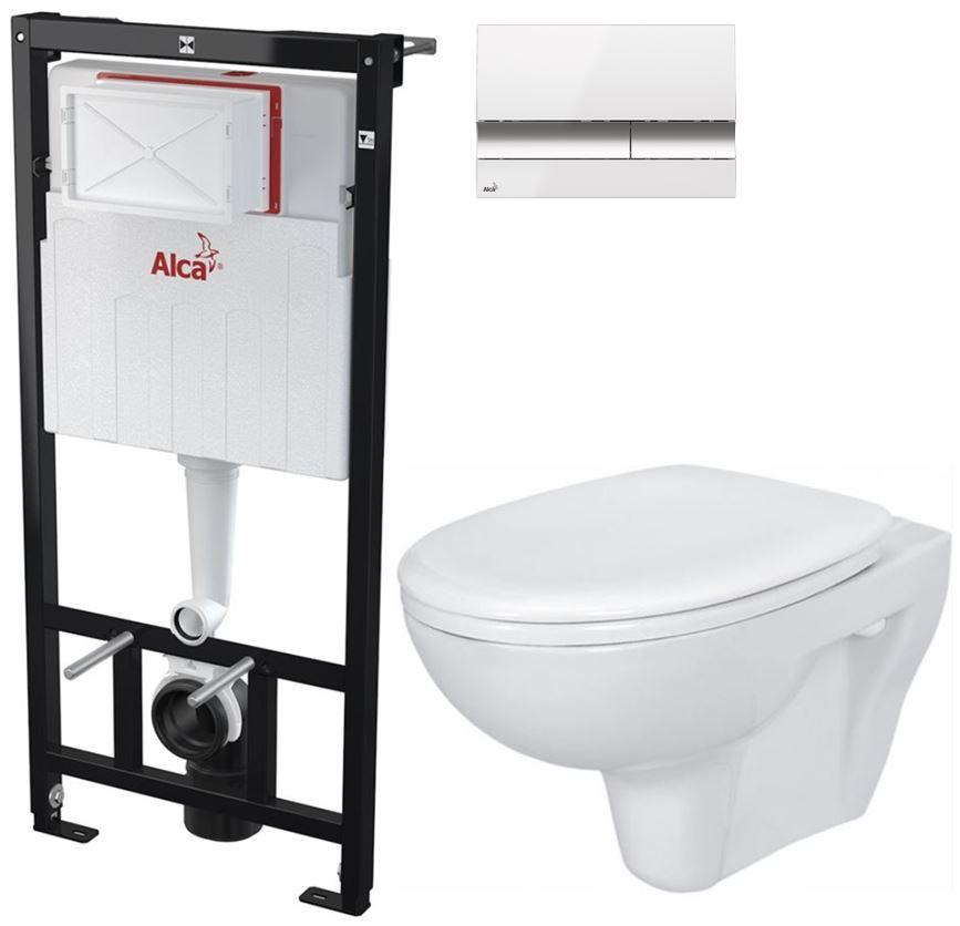 AKCE/SET/ALCAPLAST - Sádromodul - předstěnový instalační systém + tlačítko M1720-1 + WC CERSANIT PRESIDENT + SEDÁTKO (AM101/1120 M1720-1 PR1)