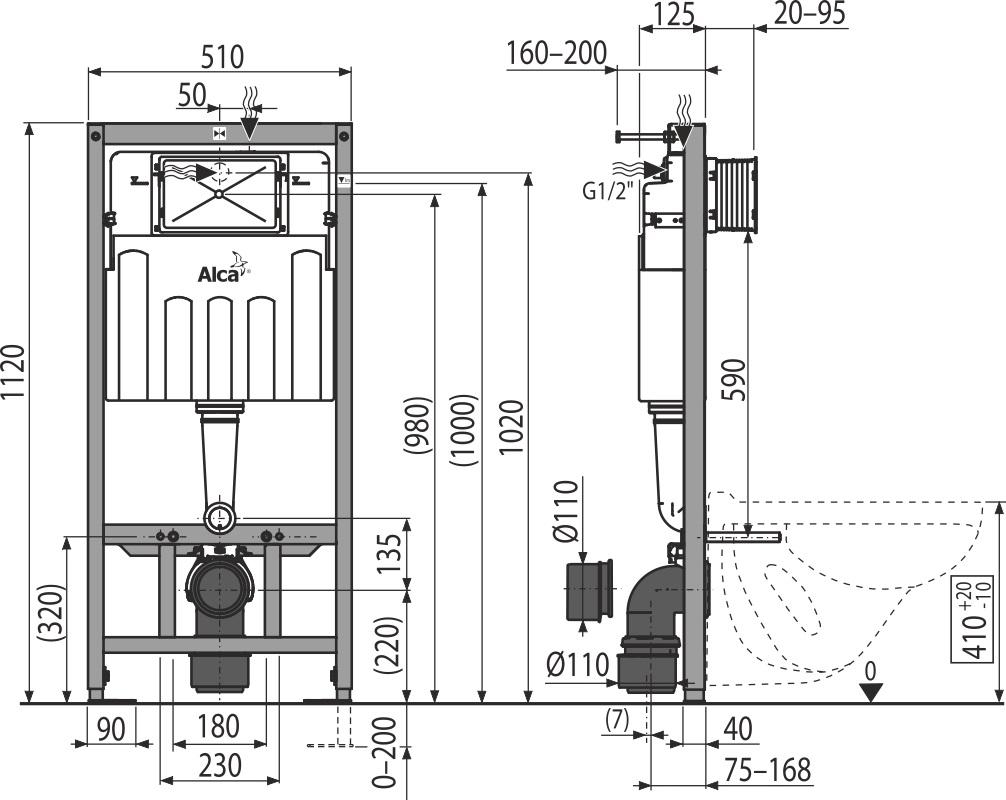 AKCE/SET/ALCAPLAST - Sádromodul - předstěnový instalační systém + tlačítko M1721 + WC CERSANIT ARES (AM101/1120 M1721 AR1), fotografie 4/8