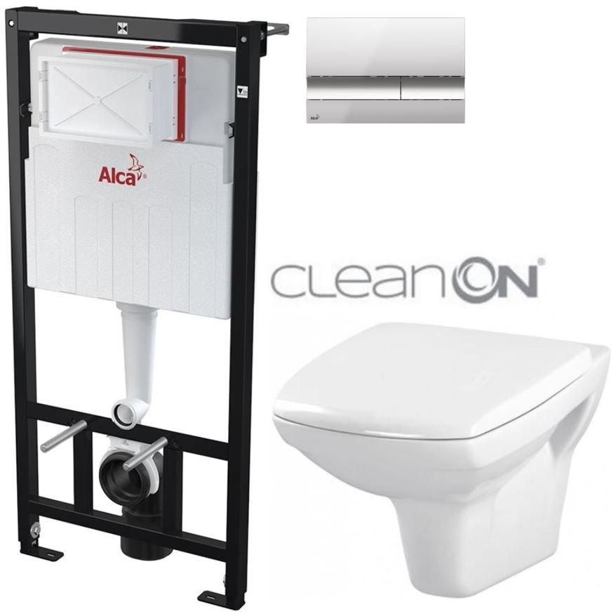 AKCE/SET/ALCAPLAST - Sádromodul - předstěnový instalační systém + tlačítko M1721 + WC CERSANIT CLEANON CARINA + SEDÁTKO (AM101/1120 M1721 CA1)