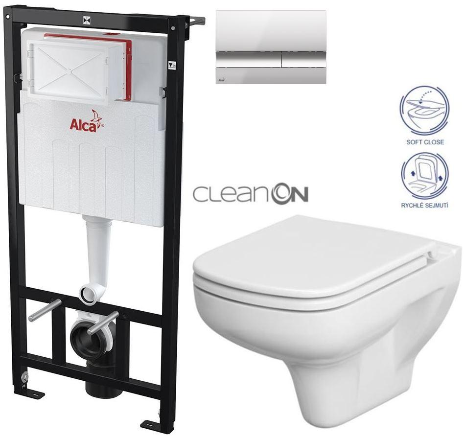 AKCE/SET/ALCAPLAST - Sádromodul - předstěnový instalační systém + tlačítko M1721 + WC CERSANIT CLEANON COLOUR + SEDÁTKO (AM101/1120 M1721 CN1)