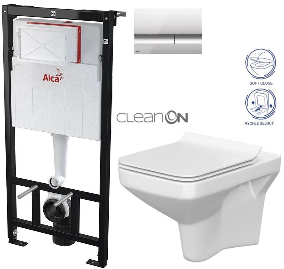 AKCE/SET/ALCAPLAST - Sádromodul - předstěnový instalační systém + tlačítko M1721 + WC CERSANIT CLEANON COMO + SEDÁTKO (AM101/1120 M1721 CO1)
