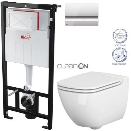 AKCE/SET/ALCAPLAST - Sádromodul - předstěnový instalační systém + tlačítko M1721 + WC CERSANIT CLEANON CASPIA + SEDÁTKO (AM101/1120 M1721 CP1)