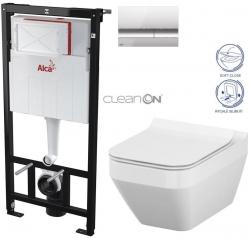 ALCAPLAST  Sádromodul - předstěnový instalační systém s chromovým tlačítkem M1721 + WC CERSANIT CLEANON CREA čtverec + SEDÁTKO (AM101/1120 M1721 CR2)